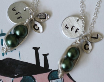 Best Friend Gift / Two Peas in a Pod Necklace Set / Hand Stamped Leaves / BFF / Custom Initials / Mom / Sister / Pea Pod / Gold / Silver