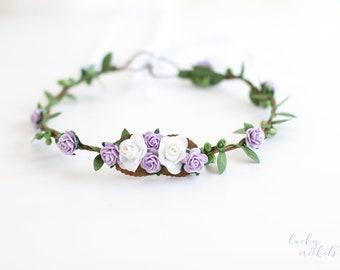 Lavender Flower Crown, Lilac Flower Crown, Lavender Flower Halo, Purple Flower Crown, Lavender Flower Girl, Lavender Floral Crown