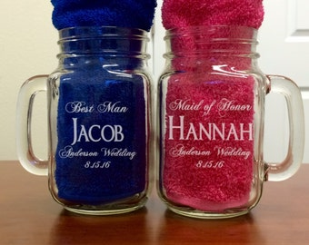 Personalized Mason Jar, Bridesmaid Gift, Groomsmen gift, Wedding Party Gift, Custom Engraving, Monogrammed for Free