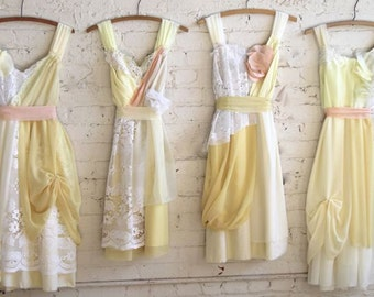 Custom Pale Butter Yellow Bridesmaids Dresses