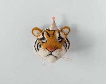 Tiger Wall Art. Tiger Nursery Decoration. Baby Shower Gift. Baby Gift. Tiger Wall Mount. Needle Felted Tiger. Tiger Ornament.