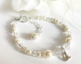 Baptism Bracelet - Flower Girl Bracelet - Pearl and Crystal Bracelet - First Communion Bracelet - Pearl Bracelet - Initial Bracelet B175