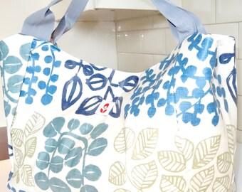 Oilcloth Bella Bag - BLUE LEAVES
