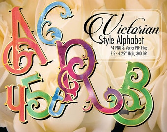 Victorian Style Watercolor Gold  Edge Holiday Alphabet, 300 DPI PNG, Transparent Backgrounds, Vector PDF –Clipart – Print at any size