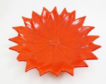 Vintage Ceramic Poinsettia Dish Bowl Red Orange Glaze Retro Holiday Decoration