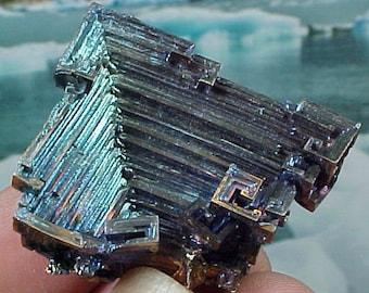 Rainbow Geometric Bismuth Crystal Mineral Specimen Excellent for Instilling Group Cohesiveness 002