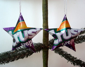 Recycled Grape Crush Soda Can Aluminum Stars - Set of 2 Unique Purple Christmas Ornaments Or Father's Day Gift