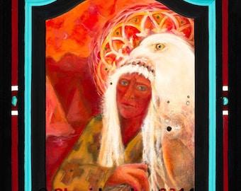 Art Print:Spirit Guide-Shamanic-Native American-Shaman-White Eagle-Healing Art- Visionary Art - Sacred Art - Shari Landau - SacredArtbyShari