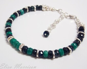 Genuine natural EMERALD + SAPPHIRE faceted rondelle gem stone sterling silver bracelet