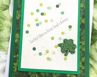 "Lucky Like a Four-Leaf Clover St Patrick's Day Greeting, Note Card, Green, Celebrate, Good Luck, Friend, Culture, Shamrock, Dots - 4.5""x5.5"""