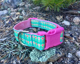 Dog Collar - Spring Flowers with Pink Buckle
