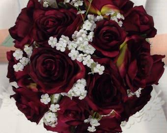 New Artificial Wine Wedding Flowers, Wine Bridal Bouquet, Wine Wedding Bouquet
