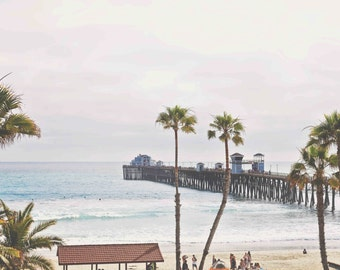 Oceanside California Pier, Beach, Palm Trees, Summer Photography
