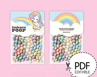 Unicorn Poop Favor Label–Printable PDF Download