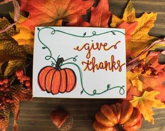 Give Thanks Card   Fall Greeting Card   pumpkin Fall Card   Autumn Greeting Card