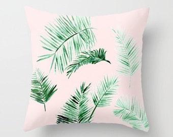 Blush Pink Palm Leaf Throw Pillow, palm leaf pillow, pink leaf pillow, blush pink pillow, pink palm pillow, light pink pillow