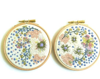 Floral Hoop, Embroidery Art, Hoop Art, Fibre Art, Wall Decor, Hand Embroidery, Hanging Embroidery, Framed Textile Art