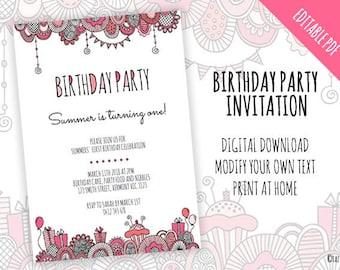EDITABLE DIY Birthday Party Invitation | Instant Digital Download | Modern Pink Original Doodle Design