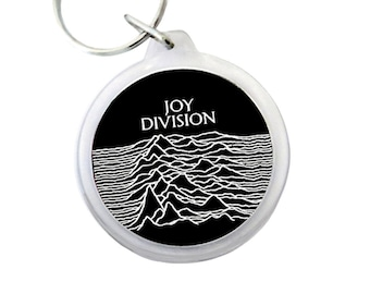 """Joy Division Keyring - UNKNOWN PLEASURES Keychain - famous and seminal Indie Band from the UK - 1.75"""" Keychain"""