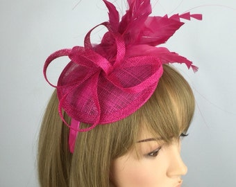 Fuchsia Hot Pink Sinamay Fascinator with feathers - Wedding Hat Races Occasion