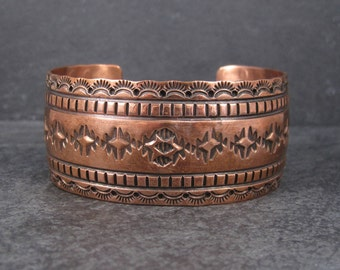 Vintage Navajo Copper Cuff Bracelet 6.75 Inches Harris Joe