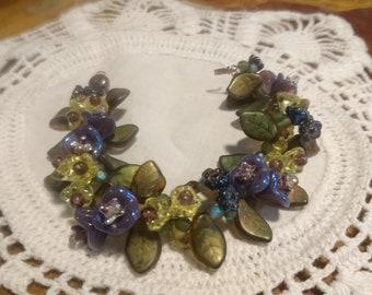 Flower And Leaf Vine Bracelet