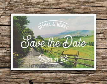 Farm Road Save the Date Postcard // Farm Wedding Save the Dates Post Cards Midwest Wedding Pennsylvania Illinois Wisconsin Country Unique