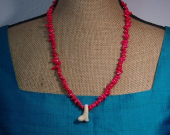 Natural Untreated AAA Grade Quality Red and White Coral Pendant Necklace
