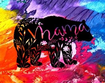 Mama Bear Decal / Mama Bear Sticker / Mama Bear Car Decal / Floral Mama Bear Decal