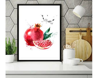 Pomegranate print Pomegranate kitchen poster Pomegranate decor Pomegranate art print Pomegranate botanical fruit Watercolor painting art