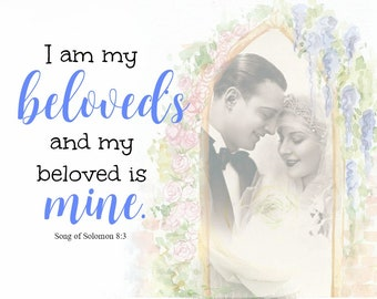 I Am My Beloved's Mounted Wall Art -- Home decor, Wedding Gift, Anniversary Gift, Engagement Gift