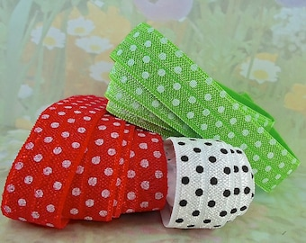 Fold over Stretch Elastic Ribbon foe diy Hair Ties Sewing trim lingerie bra making polkadots Red Green White  5/8 inch wide elastic bands