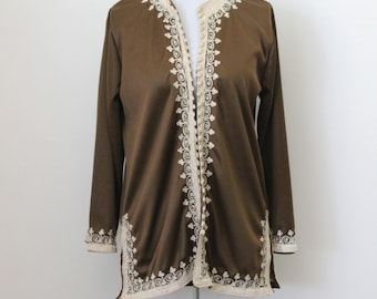 60s Dark Brown Embroidered Tunic Top