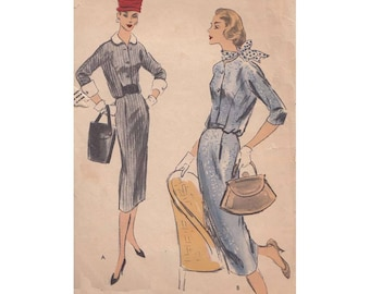 1950s Blouson Dress Pattern Size 16 Bust 36 Vogue 8929 Buttoned Front /Detachable Collar and Cuffs/ Three Quarter Sleeves