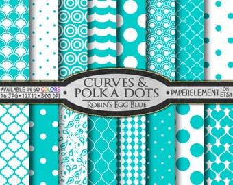 Aqua Polka Dot Digital Paper - Printable Aqua Patterned Paper - Robin's Egg Blue - Can be used as Desktop Images, Website Background Pattern