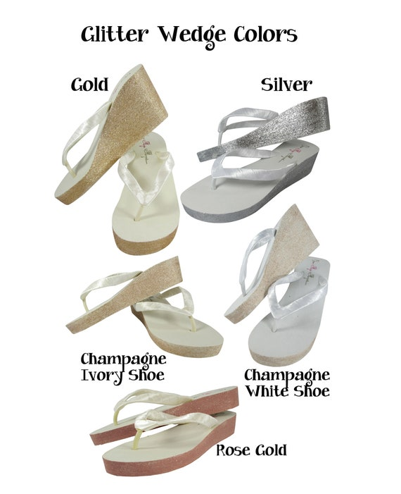 Flip Bridal Wedges Flops Sandals Heart White Glitter Bridesmaid Bride Gold Flip Flop Silver Ivory Wedding Champagne 04qavww