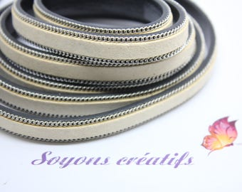 1 m strap leather and suede Beige 10mm - jewelry - P4303 Creation-
