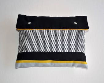 Pouch fabric travel pouch, storage bag, gray, black and yellow.