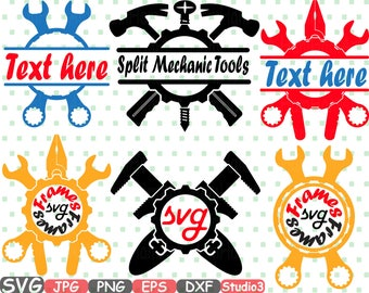 Split & Circle Mechanic Tools Silhouette SVG Cutting Files Frame frames clipart Handyman hammer tool designs pliers Science bundle -620S