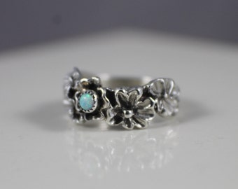 Size 6, Sterling Silver Ring, Flower Ring, Opal Ring, Flower Band