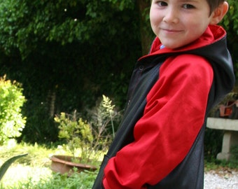 Eco leather Jacket Kids 4T, synthetic leather, black and red cloack, Unique rider childrens Bday gift, Italian motorcycle child clothes