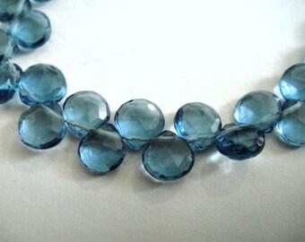 London Blue Quartz Heart Briolette Beads, MATCHED PAIR, 8 pcs, December Birthstone, Wholesale Beads, Brides, High Quality 6-7mm