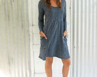 Hemp Pocket Dress with Long Sleeves and Scoop Neck - Custom Made in the USA - Many Colors to Choose From