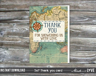 Thank you Cards Printable - Vintage Map - Compass - Baby Shower - 4x6