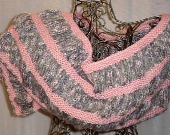 Hand Knit Wool Mohair Rose & Sage Ruched Wrap, Stole, Scarf OOAK