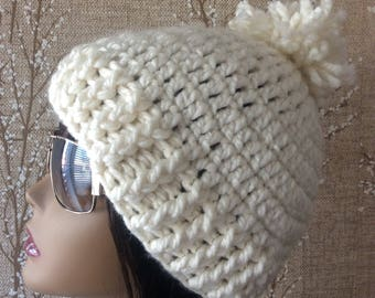 Cream Crochet Hat, Beige Chunky Beanie with Pom, Off White Winter Beanie With Puff, Beige Pom Pom Hat, Warm Cream Ski Cap