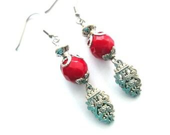Red earrings jewelry antiqued silver flower dangle earrings Czech opaque red bead earrings