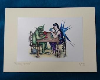Fantasy Gamers Card - gaming nerd card, magic the gathering, mtg, goblin, fairy, Fantasy Art Card, blank card, humour, humor, funny, gothic