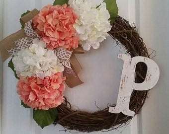 Initial Monogram Grapevine Wreath with hydrangeas