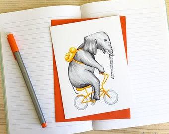 Elephant on bicycle, cycling elephant, elephant card, birthday card